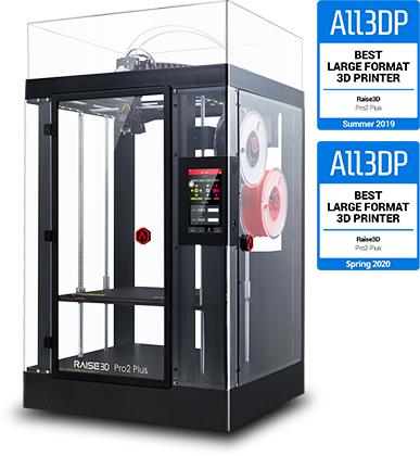 Najboljši 3D-tiskalnik z veliko površino za tisk - Raise3D Pro2 Plus.